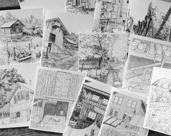 5 Assorted Cards from Pen-and-ink Drawings