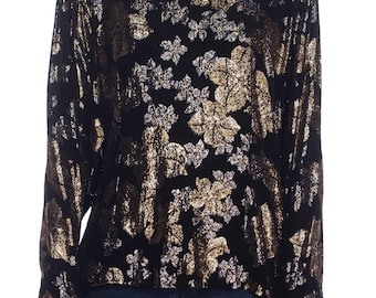 1970s Black Top With Metallic Flowers Size: M