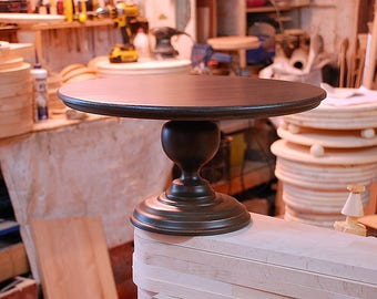 """16"""" Wedding Cake Stand Wood Cake Stand Sweets table decor Cake Pedestal Rustic Brown Cake Stand"""