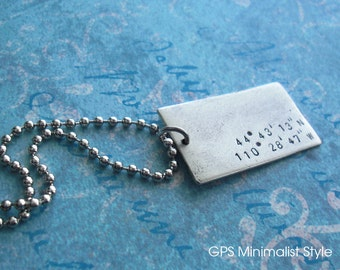Minimalist Style - Grande GPS Coordinates Keychain - Hand Stamped Antiqued Silver charm, customize engraved metal square modern gift