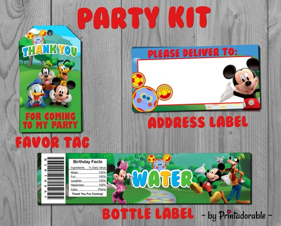 Mickey Party Set - Mickey Mouse Clubhouse Party Kit - Favor Tag, Address Label and Bottle Labels - PDF or JPG