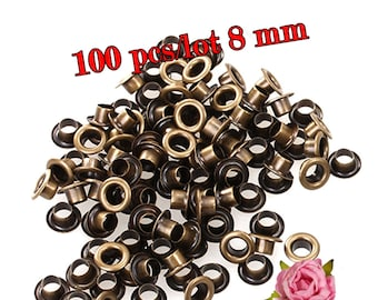 8mm Inner Diameter Metal Eyelets Grommets With Washers Silver Plated Metal Eyelets, Pack of 100 sets