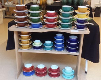 Mitterteich AG, Bavaria: seventies cups and saucers from Germany, blue, marine, red, cherry, brown, 3 different yellows, 3 different greens