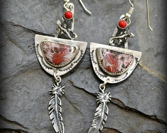 crazy lace agate sterling silver earrings.  Lizards and Lace.