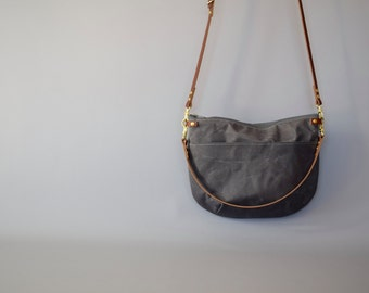 Grey Waxed Canvas Cross Body Bag - NEVIS - Exterior Pocket Adjustable Leather Shoulder Strap Day Purse by Holm