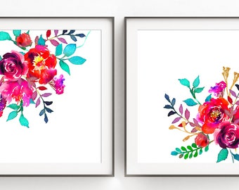 Floral Prints, Set of Watercolor Prints, Instant Download, Home Decor Prints, Gift for the Bride, 8x10 Digital Print, Wall Decor, Girl Gift