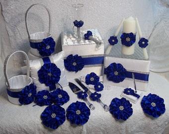 Matching Wedding Accessories Set - Flower Girl Baskets, Ring Bearer Pillow, Garter Set, Guest Book & Pen, Card Box, Toasting Flutes, server