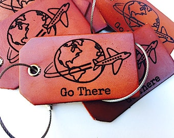 Leather Luggage Tag, Travel Gift, Adventure, Go There, Baggage Tag, Personalized Gift, For Pilot, Mens Luggage Tag, Wedding Party Favors,
