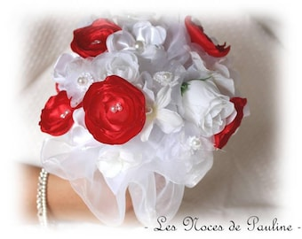 Red and white bridal bouquet eternal marriage ceremony