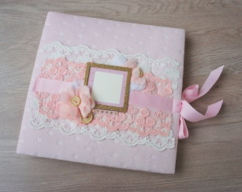 Baby Girl Photo Album Baby Memory Book Baby Photo Album Personalized Album New Grandma Gift Pink And Gold First Birthday Party Guest Book
