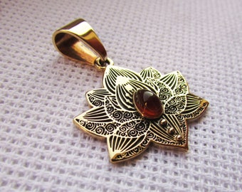 Lotus flower pendant with carnelian insert Pendant  - Lotus Jewelry - Yoga Necklace - Flower Necklace, a gift for Christmas and New Year