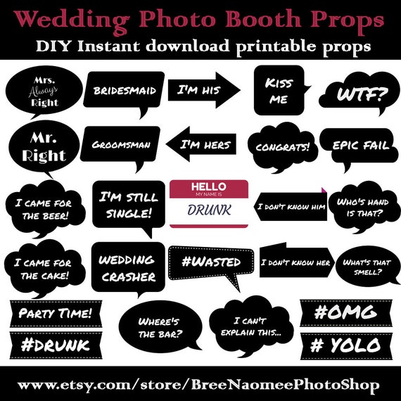 Wedding Photo Booth Props Diy High Quality Pdf Printable Props