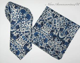 Men's navy blue necktie Liberty print tie Skinny ties Slim wedding neckties Liberty of London tie floral Lodden & Matching Pocket Square