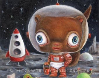 Retro Sci Fi Art, Space Aliens, Chipmunk on the Moon, Big Eye, Lowbrow Illustration. EVK, Print, Size Options Available