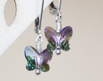 Kids' Earrings , Children's Butterfly Earrings , Swarovski Crystal earrings , Leverback earrings , Girl Birthday Gift