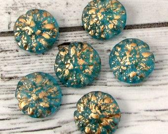 Glass Dahlia Flower Beads, Aqua Gold, 14 MM, 6 Pieces, C567