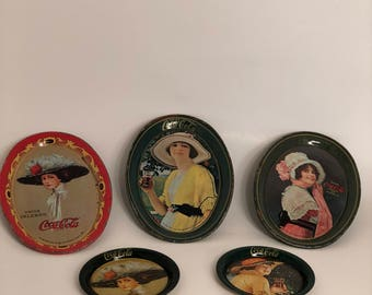 Coke Tip Trays and Coasters; Set of 3 Tip Trays and 2 Coasters; Coca-Cola Collectible Tin Trays; Coke Metal Mini Trays;