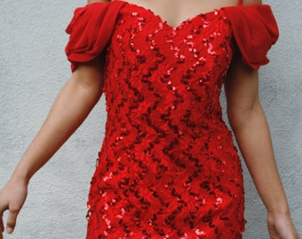 Vintage sequined sweetheart mini disco dress puff sleeve 80s prom red