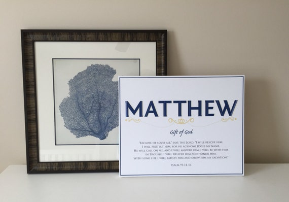MATTHEW Name Art Canvas with Name Meaning and Scripture Verse, 16x20 - Wall art baby name meaning