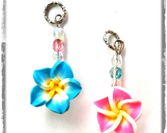 Hearing Aid Charms:  Vibrant Tropical Flowers with Czech Glass Accent Beads!  Also available as a matching mother daughter set!