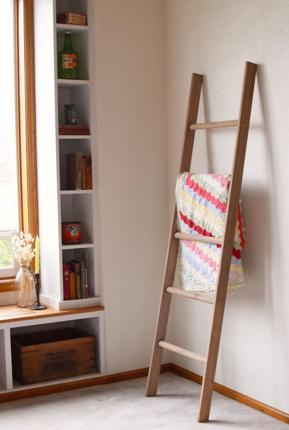 Large Rustic Blanket Storage Decorative Wooden Ladder