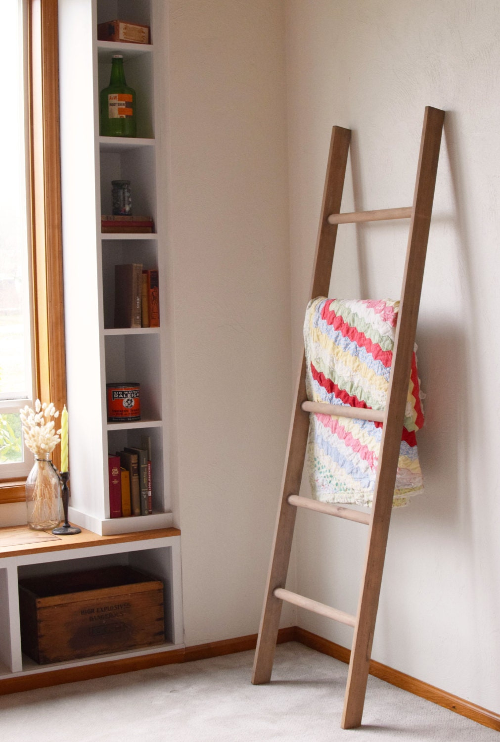 Large Rustic Blanket Storage Decorative Wooden Ladder Rustic