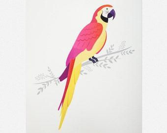 "Colourful Parrot Giclée Art Print 7 x 5 / 8 x 10"""