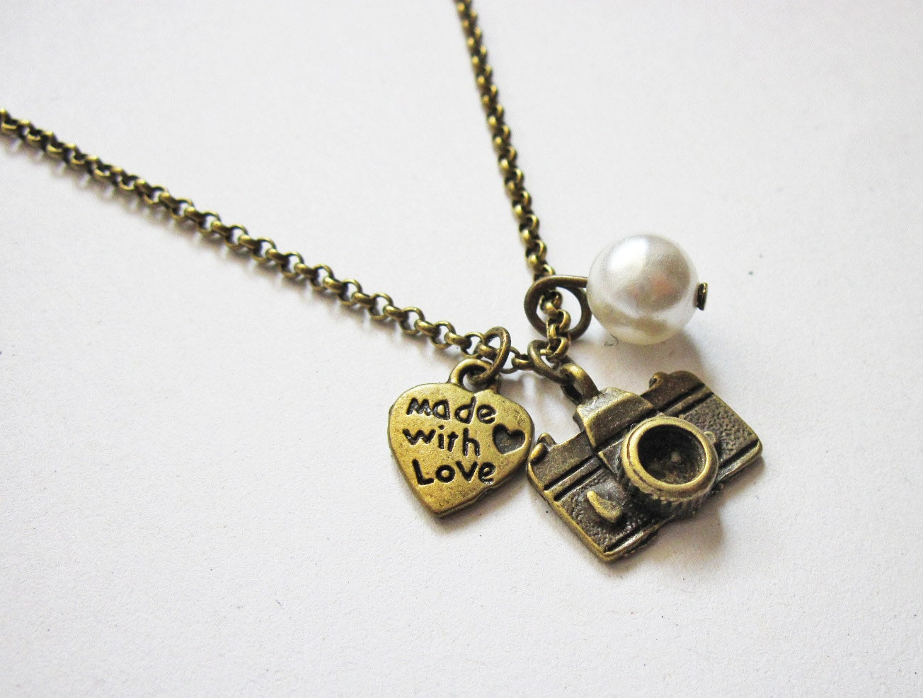 photographer capture necklace hand pin camera silver sterling stamped gift photography life