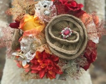 Burlap Bouquet, Fall Bouquet,Bridal Bouquet,Pearls Lace and Glimmer, Ruby Red\Orange Bouquet