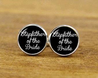 Stepfather Of The Bride Cuff Links, Custom Wedding Cuff Links, Round Or Square Cufflinks & Tie Clip Set, Groom Cufflinks, Stepdad Cuff Links