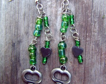 Heart and Key Beaded Dangling Earrings