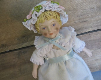Vintage AVON Porcelain Doll / Victorian Girl in Blue Nightie / Collectible Doll / 1983 / Doll Collector Gift / Christmas Gift / Blond hair