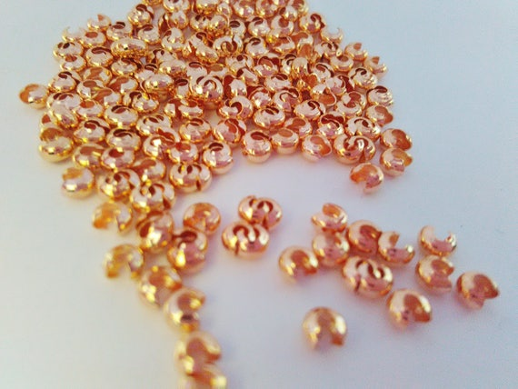 Rose Gold Crimp Covers 3mm Pack of 50 Crimp Bead Ends Covers Bead