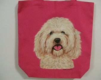 Reuseable Canvas Tote with  a Labradoodle Dog (golden)