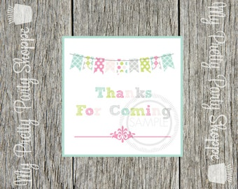 Colorful Bunting Printable Tags / Labels / Favor Tags / Stickers / *INSTANT DOWNLOAD*