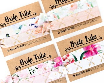 ASSORTED Floral Bride Tribe Bachelorette Hair Tie Favors | Boho Hair Tie Bridesmaid Gift, Tribal Boho Bachelorette Party, Arrows Flowers
