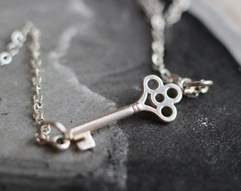 Sterling Key Necklace- Free Shipping, silver necklace, sterling necklace, sterling silver