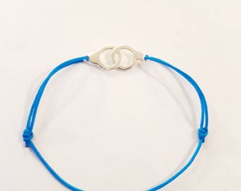 925 sterling silver. Bracelet blue DrawString and cuffs. Adjustable. Blue lagoon.