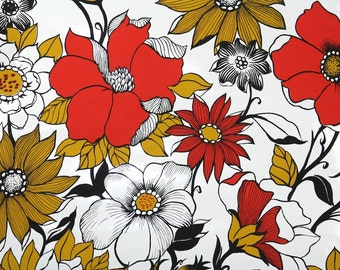 Retro Wallpaper by the Yard 70s Vintage Wallpaper - 1970s Vinyl Red Black and Gold Floral on White