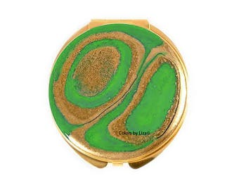 Round Compact Mirror Hand Painted Enamel Gold and Green Agate Inspired Custom Colors and Personalized Options