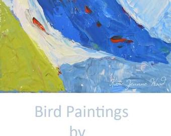 Blue & Green Acrylic Nuthatch Bird Painting. Mini Animal Portrait. Wildlife Songbird. Bird Lover's Decor. Office Wall Art. 142