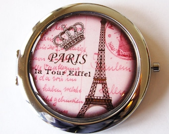 Paris compact mirror, pink mirror, purse mirror, Paris, compact mirror, double sided mirror (1999)