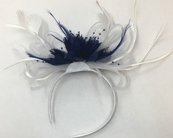 White and Navy Blue Fascinator on Headband for Weddings Ascot Derby