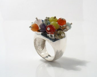 The Pom-Pom - multi semi-precious stones set on silver ring