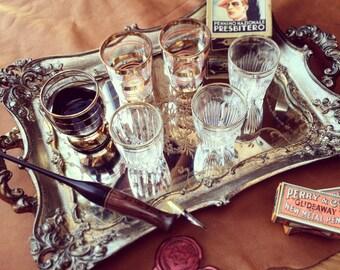 Vintage style mirror desk tray