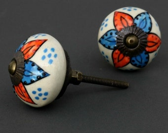 Round Ceramic Cabinet Knob with Blue and Orange Flower