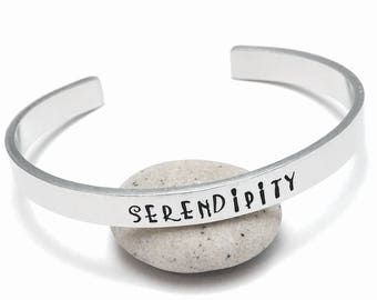 Serendipity bracelet, skinny cuff bangle, hand stamped, personalised jewelry, inspirational quote, stacking bracelet, custom festival wear