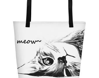 Lovely Cat lover Bag / Cat Mom Beach Bag / Mother's Day Gift / Cat Women Tote Bag / Gift for her / Gift for Cat Lover / Women's Accessories