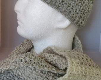 Teen/Ladies's XS Gray/Cream/Tan Hat and Scarf Set
