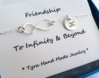 Infinity initail necklace,Sideways infinity,monogram necklace,hand stamped initial,Friendship,cutsom font,Everyday jewelry,best friend gift